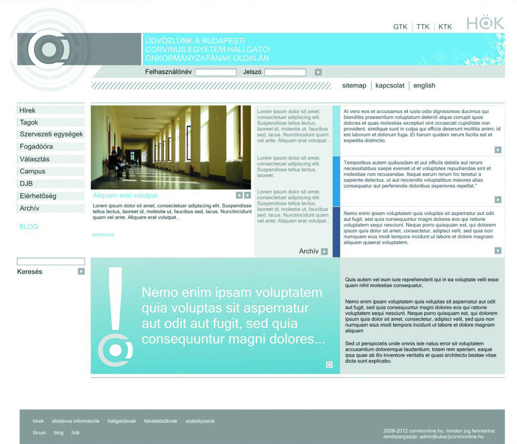 BCE HÖK arculat és weblap koncepció
