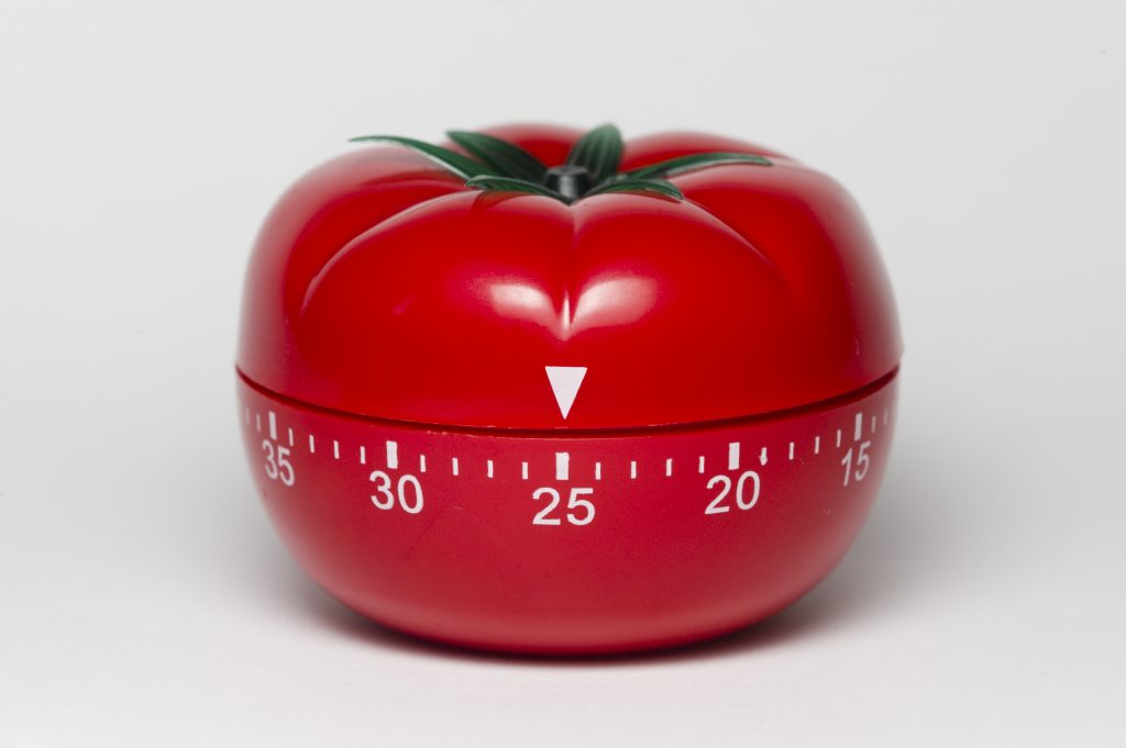 Pomodoro (tomato) technique is a study method that helps avoiding procrastination using a kitchen timer