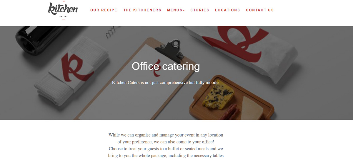The Kitchen Caters webpage development